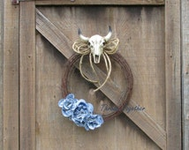 Country Western Wreath Decor, Rustic Wreath, Rustic Barbwire Wreath, Denim Lace Roses, Barbwire Wreath with Faux Bull Skull & Denim Roses