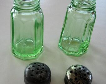 Vintage Hazel Atlas Vaseline Green Salt and Pepper Shakers