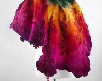 Felted Scarf Rainbow Scarf MULTICOLOR SCARF Nunofelt scarf Felted Scarf Nunofelted Scarves Rainbow scarf multicolor scarf