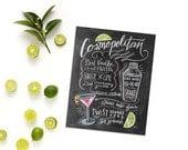 Bar Cart Print - Cosmopolitan -  Kitchen Chalk Art - Chalkboard Art - Hand Lettering - Recipe Print - Cocktails - Bar Cart Art - Chalk Art