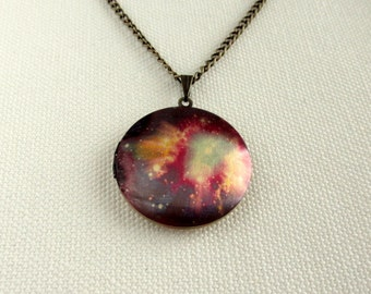 Space Locket, Nebula Galaxy Jewelry Quirky Locket Long Chain Brass Altered Art Necklace