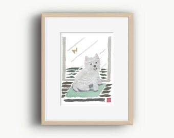 Westie Art, Westie Dog, West Highland Terrier, Dog Portrait, Westie Gifts