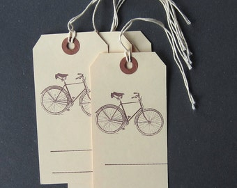 """Set of Five Hang Tags """"Bicycle"""" / pack of five gift tags with cotton string"""