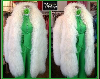 Vintage White Tibetan Lamb Fur Coat