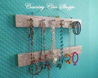 """2 Tier Necklace Organizer in Crackle Pattern..16"""" Long with 13 Pegs..Pick Your Favorite Colors.. Great Closet or Bathroom Organizer"""