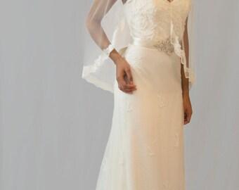 Couture bridal veil, lace edge veil, 3/4 length, Louise
