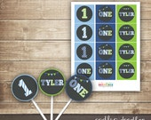 """First Birthday """"ONE"""" Cupcake Toppers / Personalized / Boy's 1st Birthday / Blue & Green - other colors available  - Printable"""