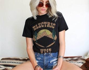 Electric West Tee- Womens southwestern tshirt- desert tshirt- womens vintage tshirt- thin tshirt- cactus shirt- womens biker tshirt-