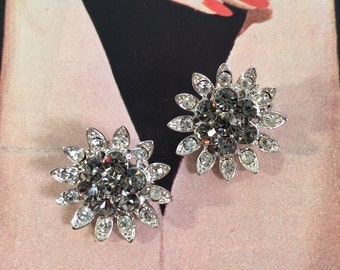 Vintage Flower Shaped Rhinestone Earrings -- Super Sparkly!
