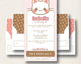 Kitty Cat Kitten Birthday Invitation Package | Printable Folding Card | Personalized Invite & Envelope Set