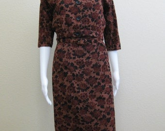Burgundy Wiggle Dress and Jacket Carl Naftal 1950s