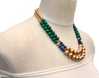 green beaded necklace / kelly green necklace / emerald green necklace / navy green gold / two strand / green and gold / bridesmaid necklace