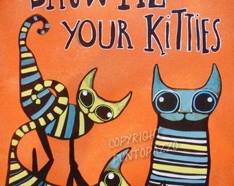 Original Pop Art cats,acrylic painting on hardboard,orange