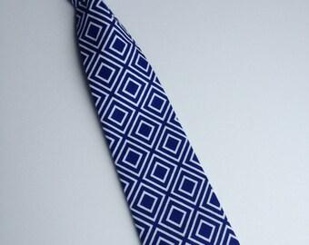 Boys Neck Tie, Infant Velcro Tie, Toddler Neck Tie, Royal Blue Tie Neck Tie