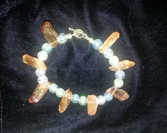 BRACELET: Crystal Amber Luster Stone Nugget Crystals with Aqua Glass Accent Bracelet