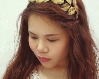 gold leaf headband, handmade by polymer clay, country sweet girl