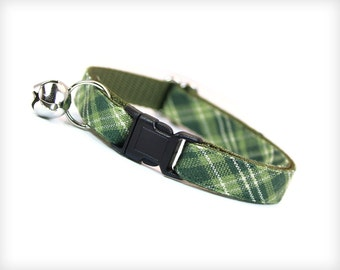 """Green Plaid Cat Collar - """"Walden"""" - Sage & Moss Green Plaid - Breakaway Buckle or Non-Breakaway - Sizes for Cats + Small Dogs"""