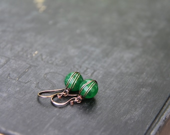 """Copper wire wrapped small dangle earrings, """"Color dots"""" petite round dangle, everyday, green, pearl, red, yellow, blue gemstone earrings"""