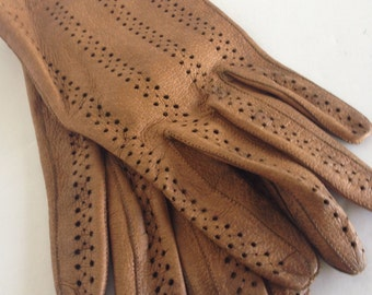 Perforated Brown Leather Gloves