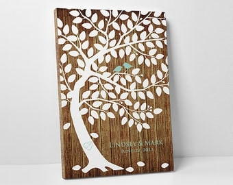 Wedding Tree Guest Book Poster - Guest Book Tree - Wedding Guestbook Tree - 75-100 Guests - Wrapped Canvas - 16x20,20x30 or 24x36 Inches