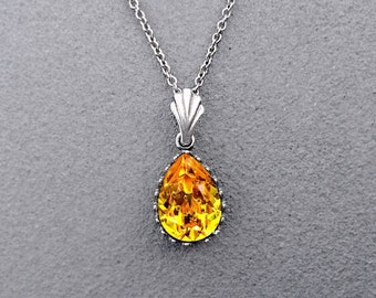 Sunflower Yellow Swarovski Crystal Teardrop Pendant Necklace