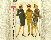 Skirt Pants Jacket, S, Simplicity 6129 Pattern for Women, Suit, Slim, Side Zipper, Double Breasted, Lined, 1965 Uncut, Size 10