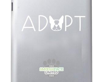 Boston Terrier decal vinyl sticker - ADOPT - Boston Terrier love - text with dog silhouette - Smooshface United