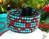 Red and Turquoise Beaded Cuff, BeAded Bracelet, Adjustable CUFF, Western Jewelry, WeSTern Bracelet, WeStErN CuFf