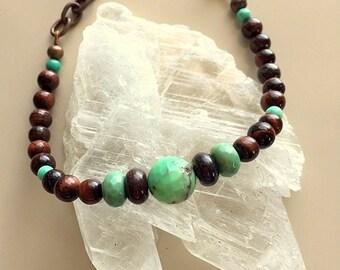 Brown (Mahogany) Obsidian, Jasper and Chrysoprase and Copper Gemstone Bracelet - Unisex Bracelet