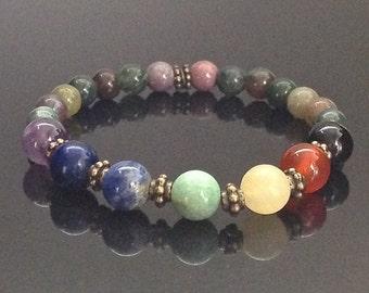 7 Chakra Bracelet, Womens Chakra Bracelet, Intention Bracelet, Healing Crystals, Gift for Her, Yoga Bracelet, Chakra Jewelry, Mom Gift