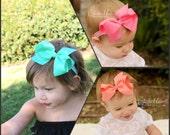 Baby headbands, baby bows, Aqua mint bow, coral bow, pink bow, baby girl headband, girl headband, infant headband, girl bow, pink headband