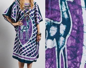 Vintage 80s batik BOHO hippie gypsy ethnic tribal dashiki CAFTAN midi DRESS