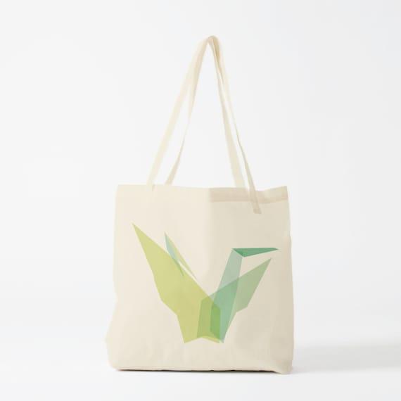 Tote Bag Green Origami, canvas bag, groceries bag, laptop bag, school bag, cotton bag, travel bag, gift for coworker, novelty gift.