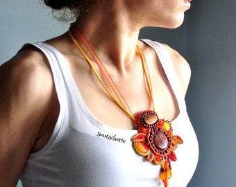 Soutache necklace - Colorful jewelry - Bohemian necklace - Soutache jewelry - Orange necklace - Chunky necklace - Big bold jewelry - Unusual