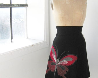 Skirt - Women - Waisted skirt - Above the knee skirt - Jersey skirt - Casual skirt - Black skirt / Red butterfly