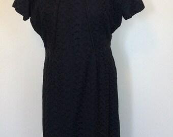 Vintage Black Eyelet Dress - Large