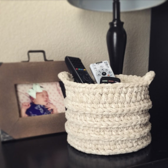 Handmade Crochet Basket : Handmade crochet basket with handles storage