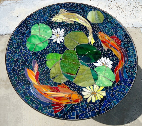 Custom koi stained glass mosaic table top or wall for Koi fish pool table