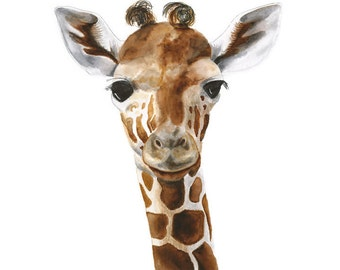 Giraffe Wall Art, Animal Art, Giraffe, Giraffe Art, Kids Wall Art, Baby Room Decor, Giraffe Nursery, Gender Neutral - 13x19