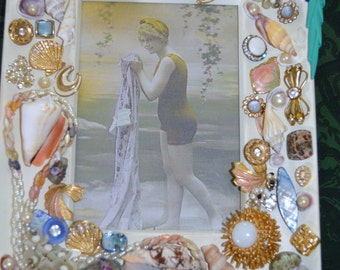 Vintage Jewelry Beach Picture Frame with vintage jewelry hand made Ships in 24 Hours