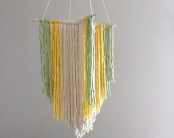 Modern Mobile, Yarn Hanging, Weaving, Nursery Decor