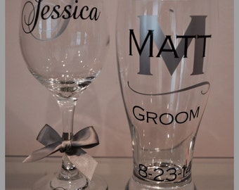 FAST SHIPPING-Personalized Bride & Groom Wedding Glasses - beer, wine