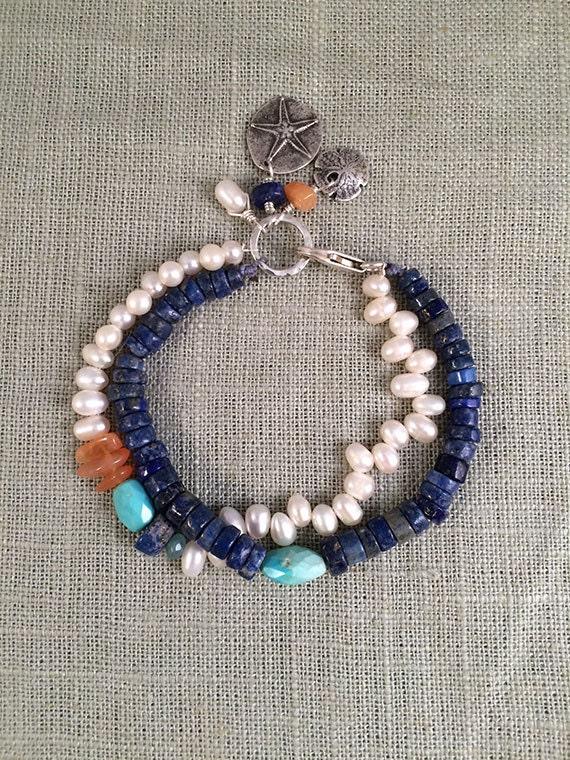 Pearl, Lapis and Turquoise Multistrand Gemstone Bracelet, Charm Bracelet, Silver & Pearl Bracelet