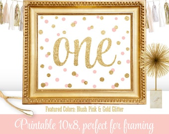 First Birthday Party Sign - Big One 1 - Blush Pink Gold Glitter - Printable Girl 1st Birthday Party Decorations - 10x8 JPG Instant Download
