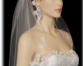 1 Tier  Embellished Edge White Or Ivory bridal Veil/Veils | Wedding bridal  Embellished Edge | 1 layer bridal veil | wedding bridal veils