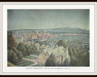 Seattle Art Print, Watercolor Cityscape Skyline at Sunset, 8 x 10 Wall Art, Lithograph Illustration, Travel Art, Wall Art, Home Decor