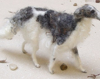 Borzoi custom dog replica needle felted dog miniature custom felted dog portrait poseable miniature dog loss memorial dog lover Sighthound