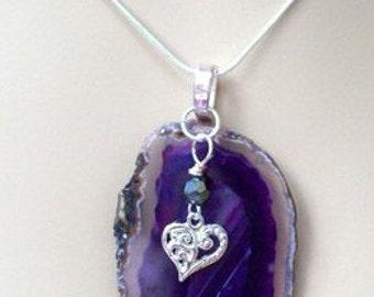 Pretty Purple Agate Necklace.
