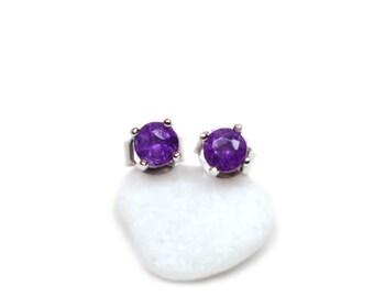 Amethyst Earrings - Small Stud Earrings, February Birthstone Crystal Earrings, Tiny Earrings, Delicate Earrings
