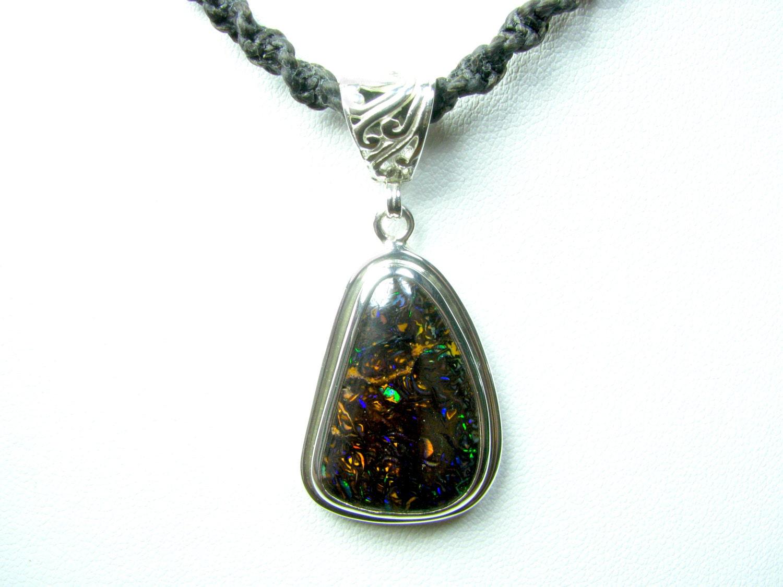 boulder opal necklace opal jewelry sterling silver bezel